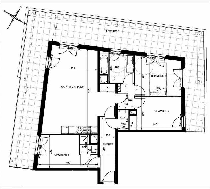 Plan LC104, appartement neuf type T4 au 1er étage, orienté Ouest faisant 88m² du programme neuf SIGNATURE - 9ème arrondissement à Marseille.