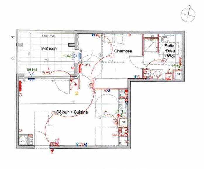 Plan LETI041, appartement neuf type T2 au 2ème étage, orienté Nord faisant 48m² du programme neuf St Etienne à Saint-Étienne.