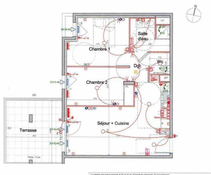 Plan LETI046, appartement neuf type T3 au 2ème étage, orienté Ouest faisant 56m² du programme neuf St Etienne à Saint-Étienne.