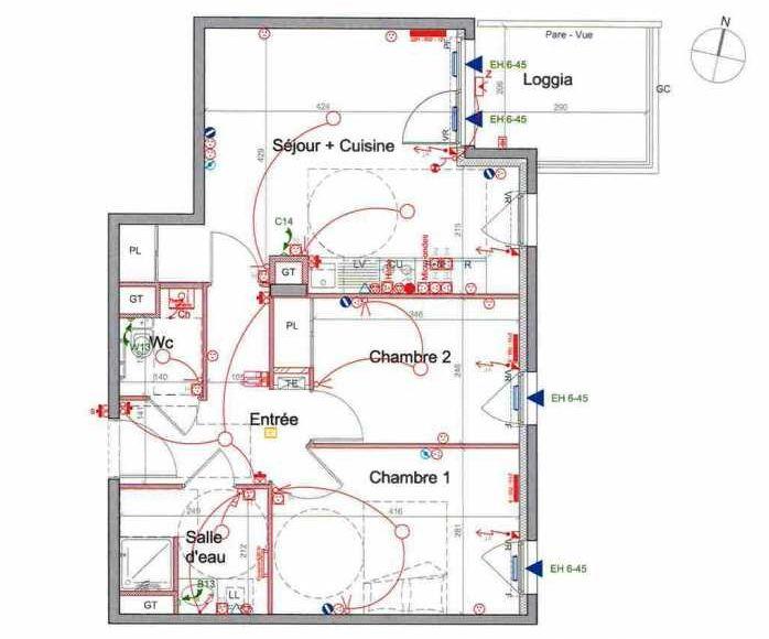 Plan LETI072, appartement neuf type T3 au 3ème étage, orienté Est faisant 56m² du programme neuf St Etienne à Saint-Étienne.