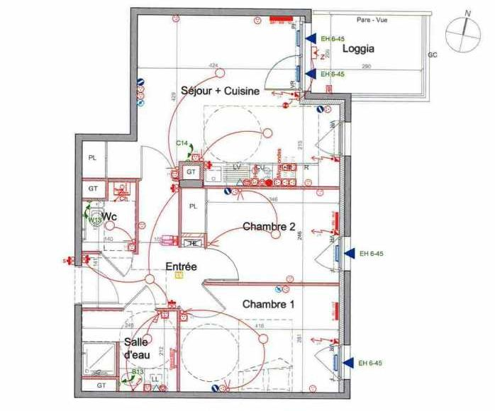 Plan LETI077, appartement neuf type T3 au 4ème étage, orienté Est faisant 56m² du programme neuf St Etienne à Saint-Étienne.
