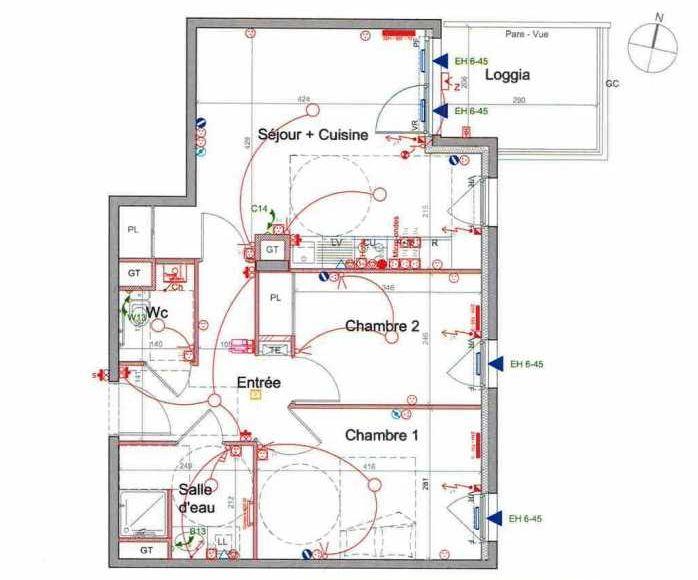 Plan LETI082, appartement neuf type T3 au 5ème étage, orienté Est faisant 56m² du programme neuf St Etienne à Saint-Étienne.