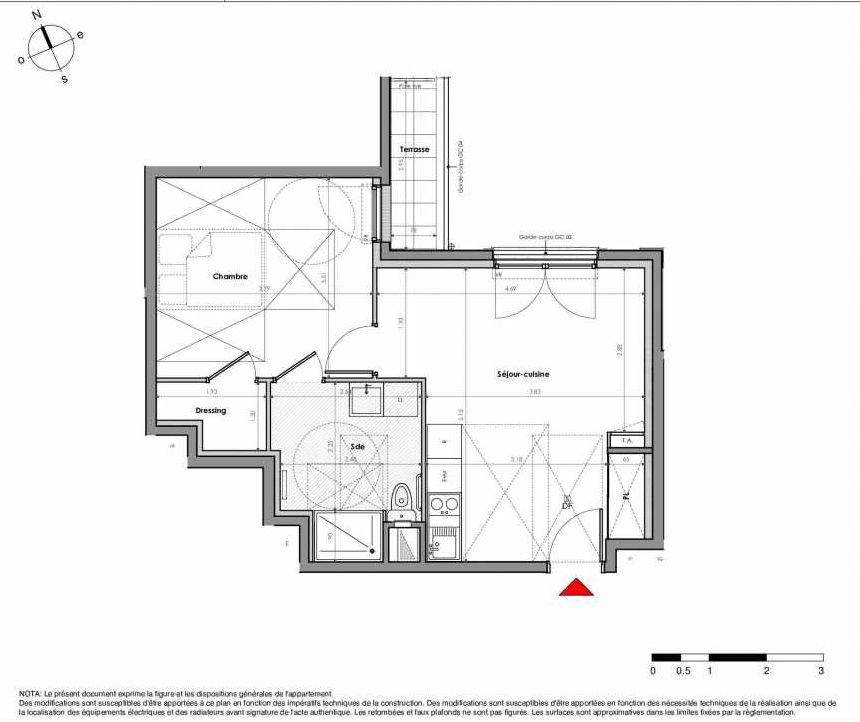 Plan LJOL068, appartement neuf type T2 au 3ème étage, orienté Nord faisant 43m² du programme neuf Mantes La Jolie à Mantes-la-Jolie.