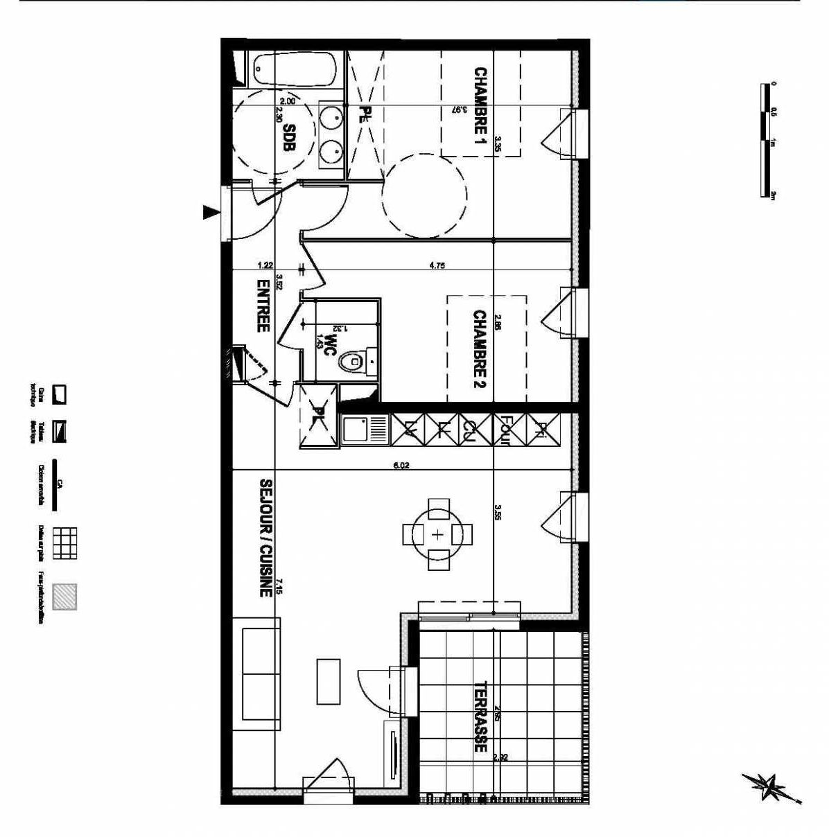 Plan Lot 009, appartement neuf type T3 au Rez de chaussée, orienté Nord faisant 66m² du programme neuf LE CLEM à Mauguio.
