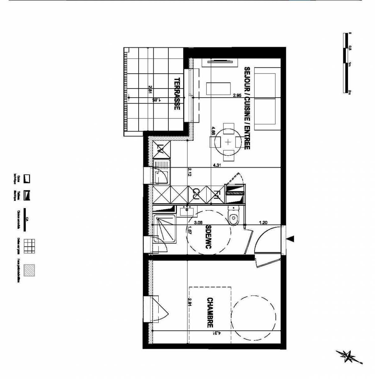 Plan Lot 107, appartement neuf type T2 au 1er étage, orienté Sud faisant 35m² du programme neuf LE CLEM à Mauguio.