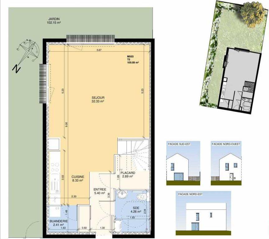 Plan M003, appartement neuf type T5 au Rez de chaussée, faisant 108m² du programme neuf Les Jardins Fleury à Fleury-sur-Orne.