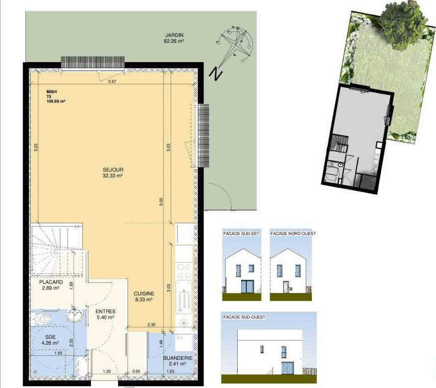 Plan M004, appartement neuf type T5 au Rez de chaussée, faisant 108m² du programme neuf Les Jardins Fleury à Fleury-sur-Orne.
