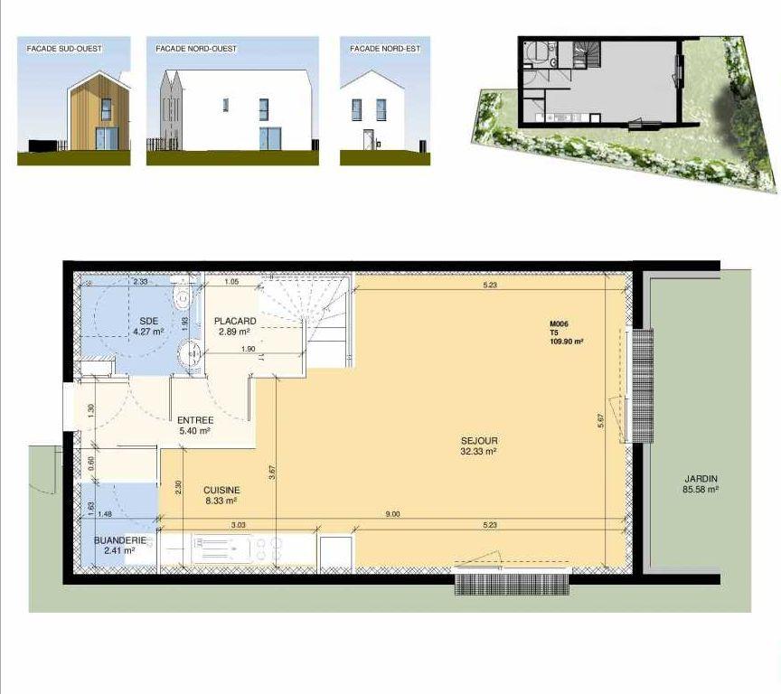 Plan M006, appartement neuf type T5 au Rez de chaussée, faisant 111m² du programme neuf Les Jardins Fleury à Fleury-sur-Orne.