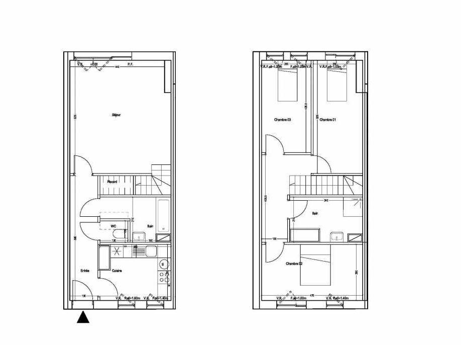 Plan M01, appartement neuf type T4 au 1er étage, orienté Sud faisant 87m² du programme neuf COLYSEE à Lys-lez-Lannoy.