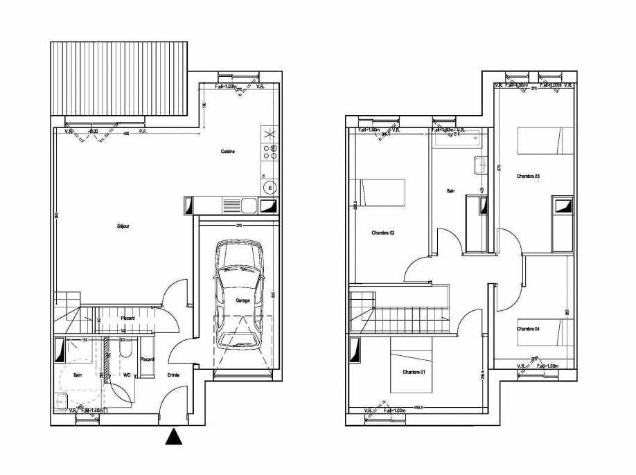 Plan M02, appartement neuf type T5 au 1er étage, orienté Sud faisant 101m² du programme neuf COLYSEE à Lys-lez-Lannoy.
