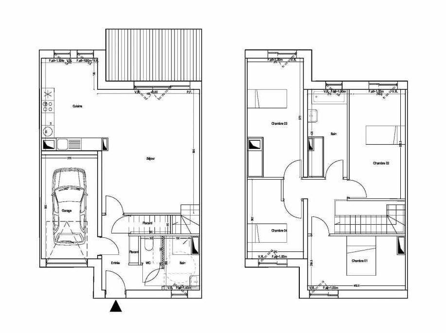 Plan M03, appartement neuf type T5 au 1er étage, orienté Sud faisant 101m² du programme neuf COLYSEE à Lys-lez-Lannoy.
