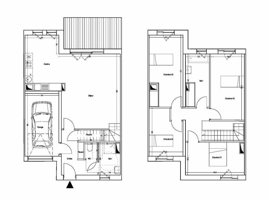 Plan M05, appartement neuf type T5 au 1er étage, orienté Sud faisant 101m² du programme neuf COLYSEE à Lys-lez-Lannoy.