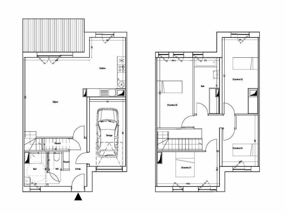 Plan M06, appartement neuf type T5 au 1er étage, orienté Sud faisant 101m² du programme neuf COLYSEE à Lys-lez-Lannoy.