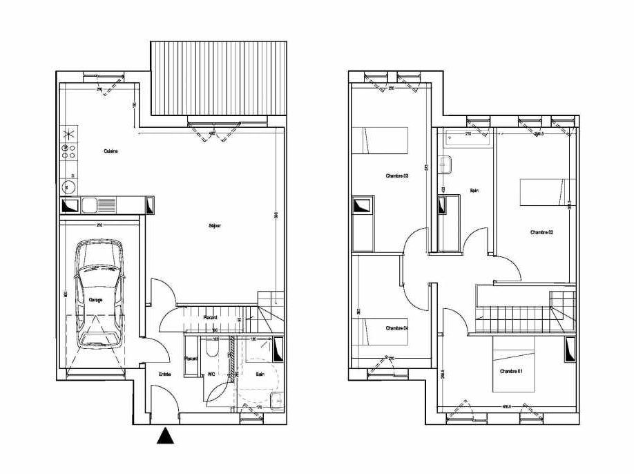 Plan M07, appartement neuf type T5 au 1er étage, orienté Sud faisant 101m² du programme neuf COLYSEE à Lys-lez-Lannoy.