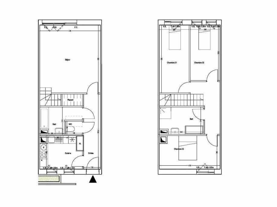 Plan M10, appartement neuf type T4 au 1er étage, orienté Sud faisant 87m² du programme neuf COLYSEE à Lys-lez-Lannoy.