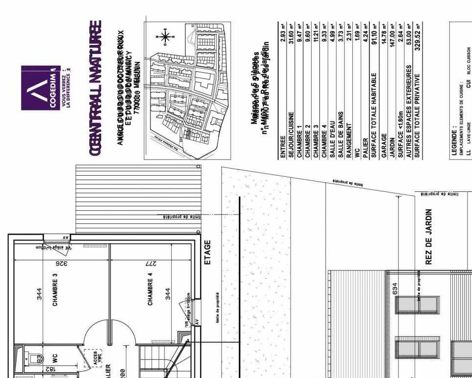 Plan M107, appartement neuf type T5 au Rez de chaussée, faisant 91m² du programme neuf Central Nature à Melun.