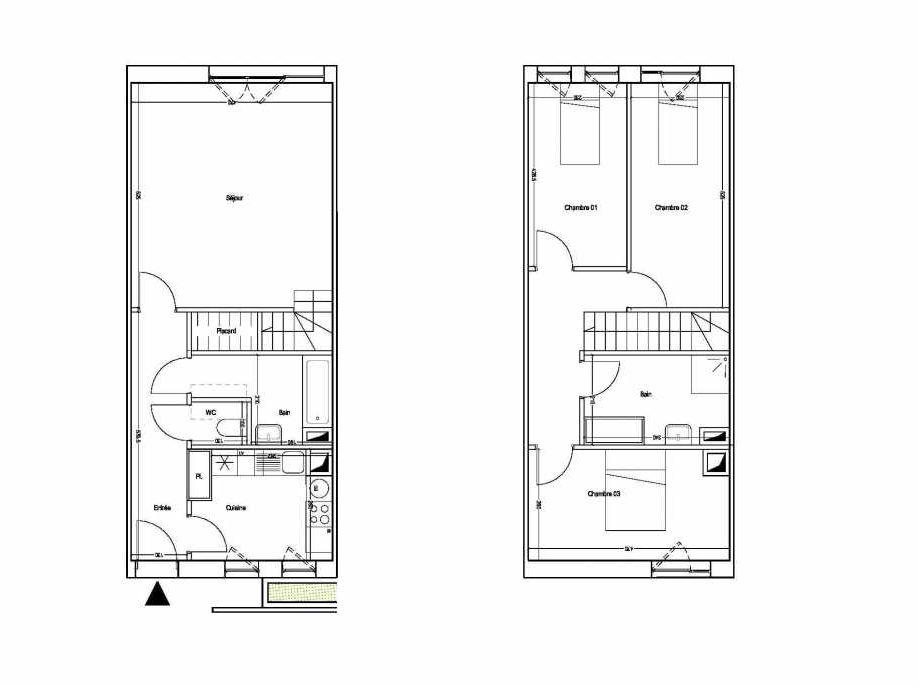 Plan M11, appartement neuf type T4 au 1er étage, orienté Sud faisant 87m² du programme neuf COLYSEE à Lys-lez-Lannoy.