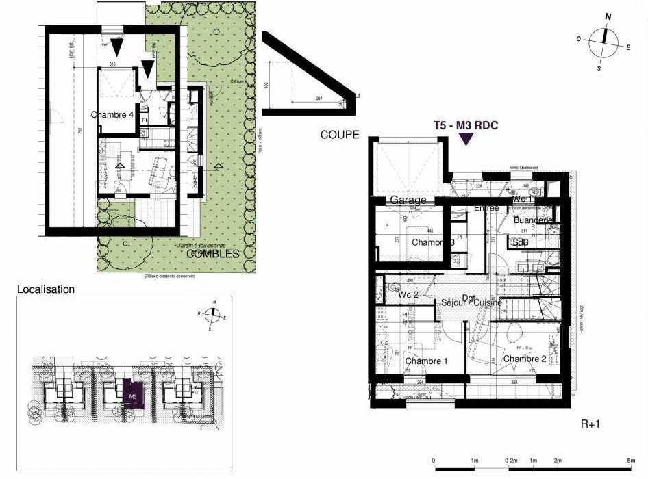 Plan M3, appartement neuf type T5 au Rez de chaussée, orienté Sud faisant 123m² du programme neuf LES RIVES DE LUCE à Sainte-Luce-sur-Loire.