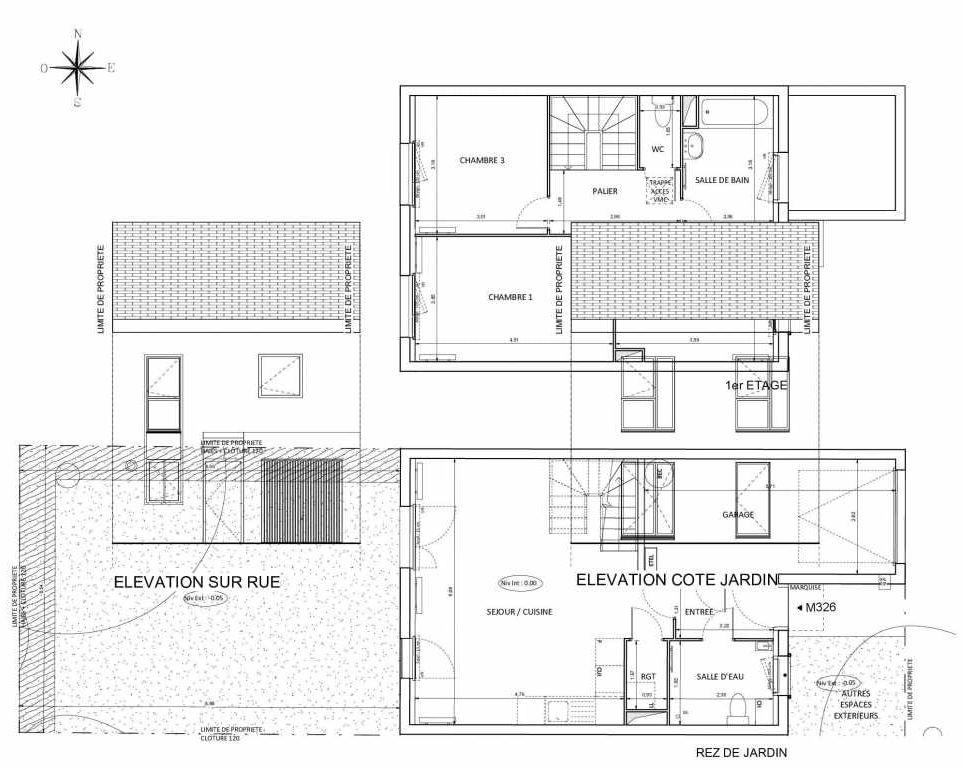 Plan M326, appartement neuf type T4 au Rez de chaussée, faisant 83m² du programme neuf Central Nature à Melun.