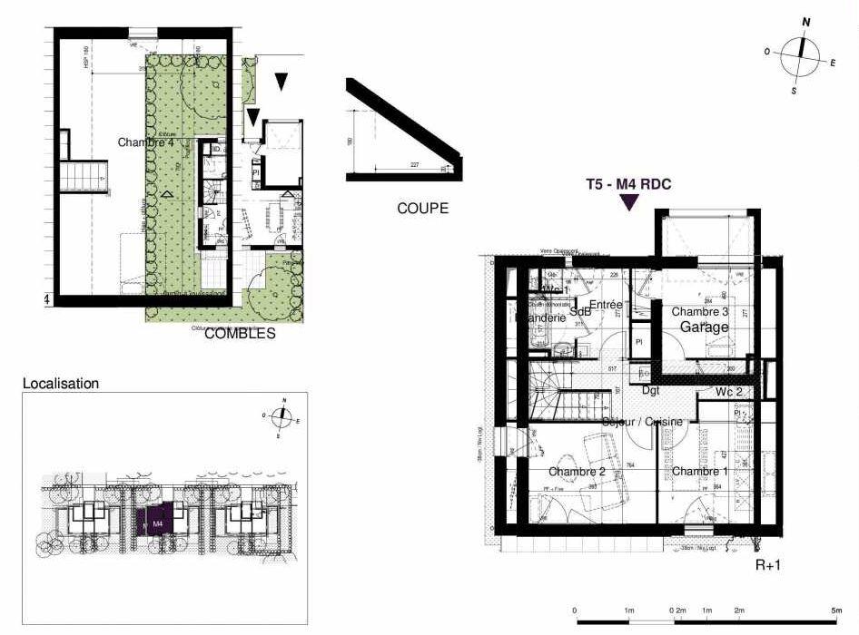 Plan M4, appartement neuf type T5 au Rez de chaussée, orienté Sud faisant 123m² du programme neuf LES RIVES DE LUCE à Sainte-Luce-sur-Loire.