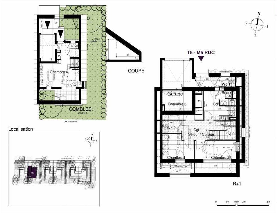Plan M5, appartement neuf type T5 au Rez de chaussée, orienté Sud faisant 123m² du programme neuf LES RIVES DE LUCE à Sainte-Luce-sur-Loire.