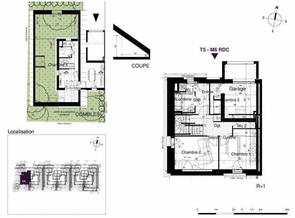 Plan M6, appartement neuf type T5 au Rez de chaussée, orienté Sud faisant 123m² du programme neuf LES RIVES DE LUCE à Sainte-Luce-sur-Loire.