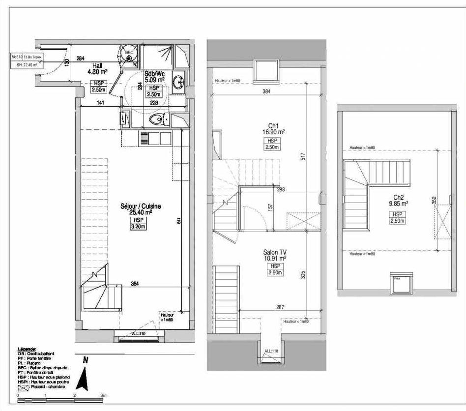 Plan Mo510, appartement neuf type T3 au 5ème étage, faisant 81m² du programme neuf GRANDS MOULINS DE PARIS à Marquette-lez-Lille.