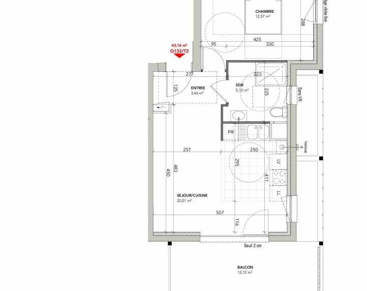 Plan recadré du lot neuf du programme neuf Square Vauban