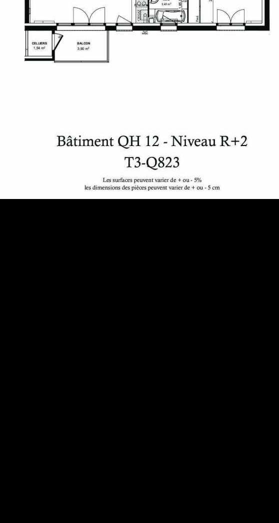 Plan recadré du lot neuf du programme neuf Quinte & Sens ilot 8