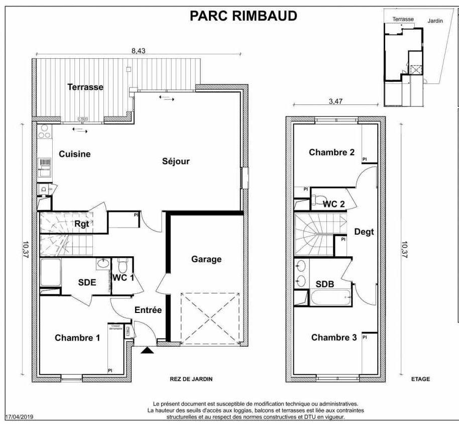 Plan V01, appartement neuf type T4 au Rez de chaussée, faisant 95m² du programme neuf PARC RIMBAUD à Tournefeuille.