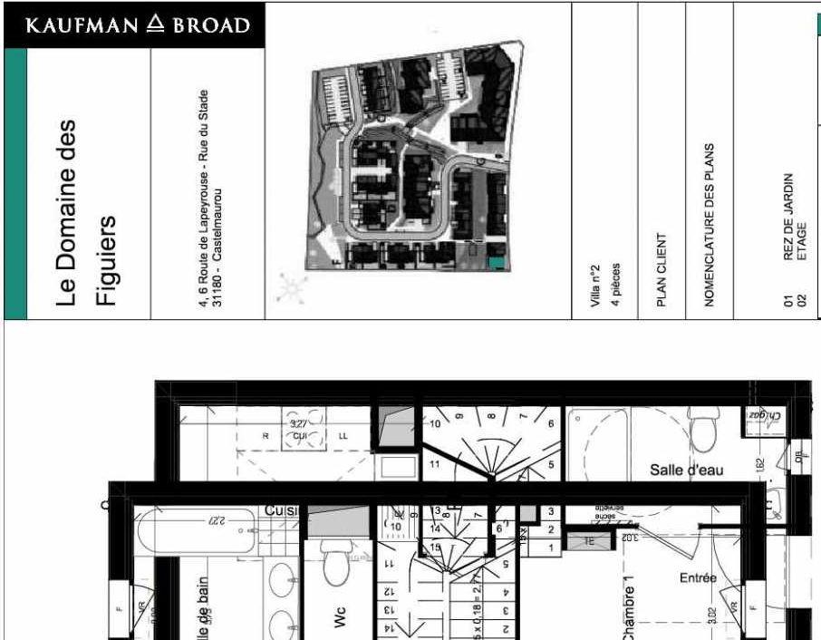 Plan V02, appartement neuf type T4 au Rez de chaussée, orienté Ouest faisant 86m² du programme neuf Domaine des Figuiers à Castelmaurou.