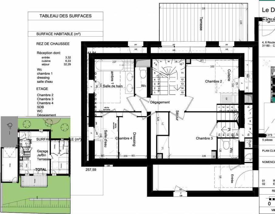 Plan V03, appartement neuf type T5 au Rez de chaussée, orienté Ouest faisant 109m² du programme neuf Domaine des Figuiers à Castelmaurou.