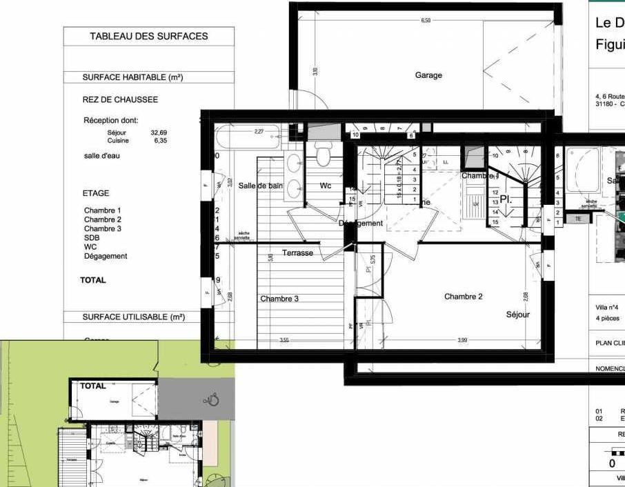 Plan V04, appartement neuf type T4 au Rez de chaussée, orienté Ouest faisant 86m² du programme neuf Domaine des Figuiers à Castelmaurou.