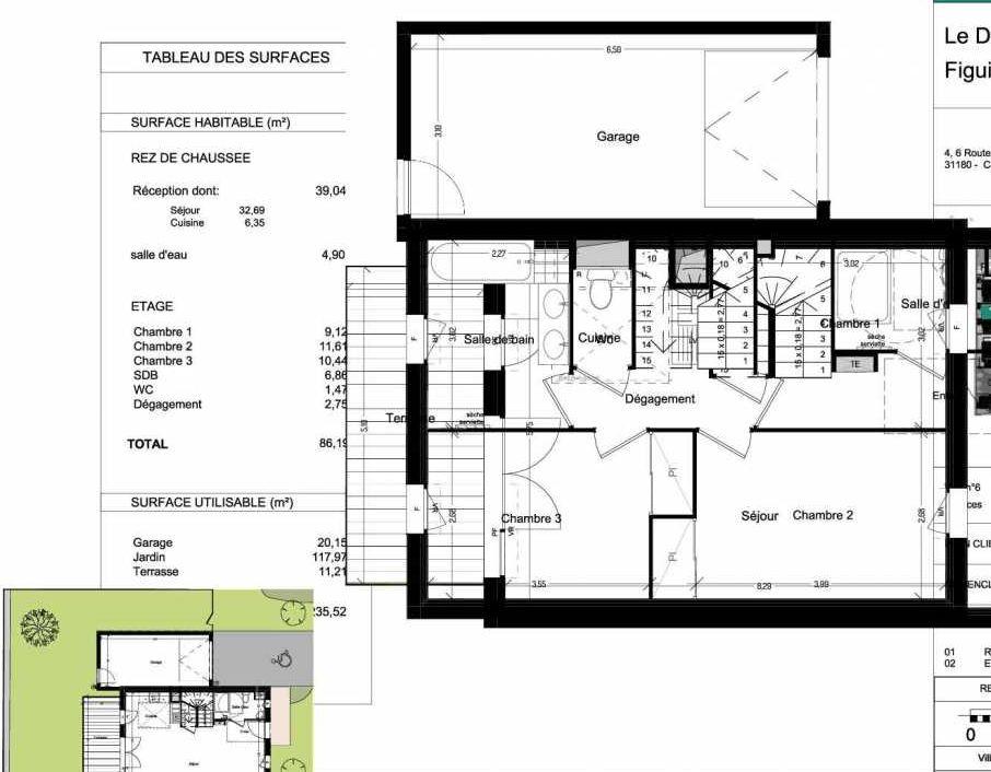 Plan V06, appartement neuf type T4 au Rez de chaussée, orienté Ouest faisant 86m² du programme neuf Domaine des Figuiers à Castelmaurou.