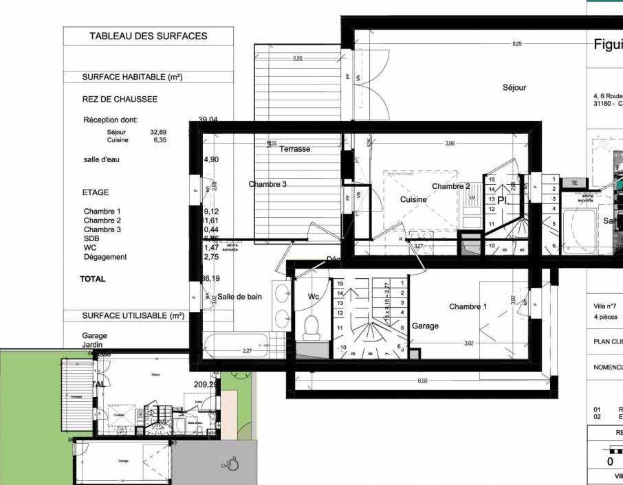 Plan V07, appartement neuf type T4 au Rez de chaussée, orienté Ouest faisant 86m² du programme neuf Domaine des Figuiers à Castelmaurou.