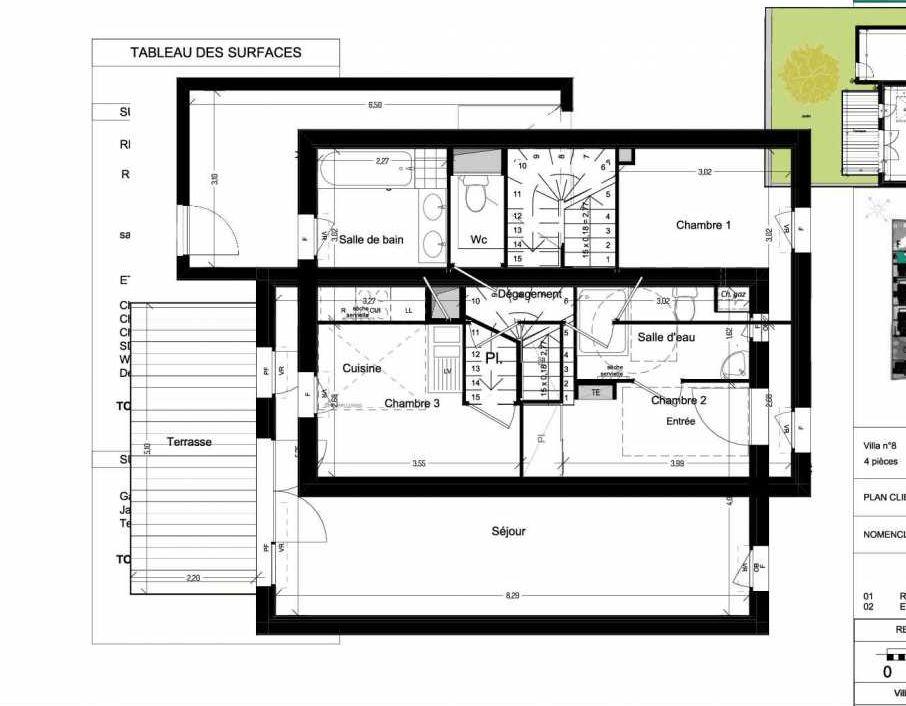 Plan V08, appartement neuf type T4 au Rez de chaussée, orienté Ouest faisant 86m² du programme neuf Domaine des Figuiers à Castelmaurou.