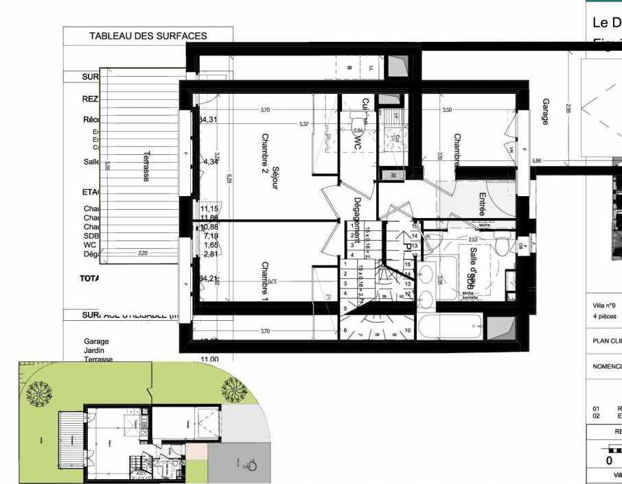 Plan V09, appartement neuf type T4 au Rez de chaussée, orienté Sud faisant 84m² du programme neuf Domaine des Figuiers à Castelmaurou.
