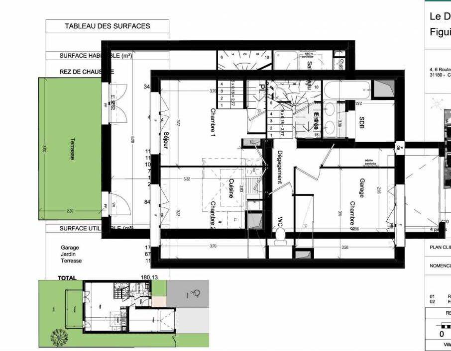 Plan V10, appartement neuf type T4 au Rez de chaussée, orienté Sud faisant 84m² du programme neuf Domaine des Figuiers à Castelmaurou.