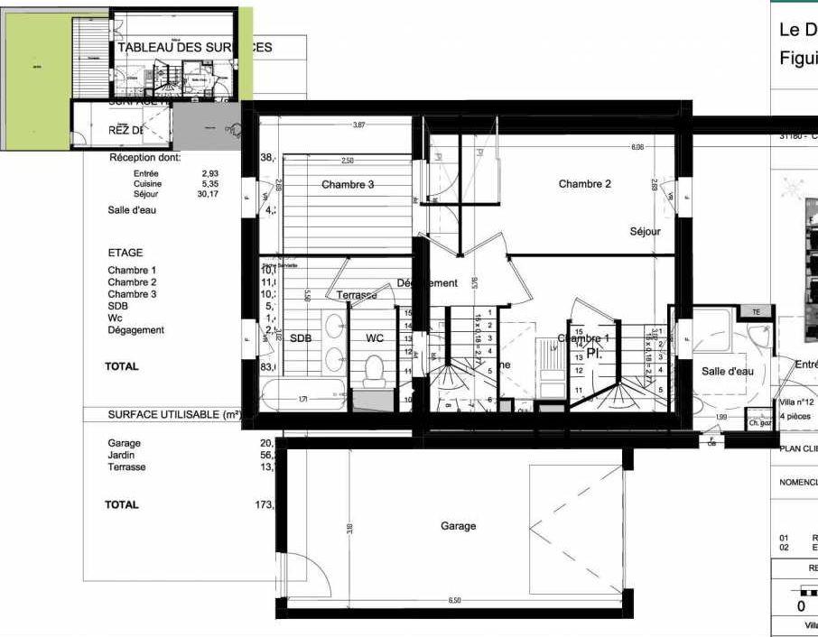 Plan V12, appartement neuf type T4 au Rez de chaussée, orienté Ouest faisant 84m² du programme neuf Domaine des Figuiers à Castelmaurou.