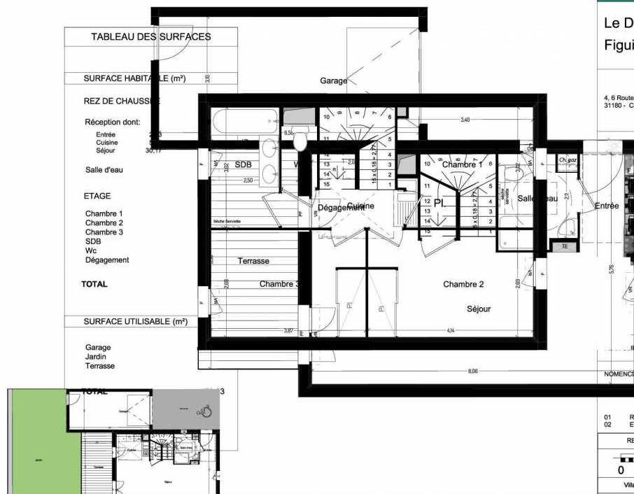 Plan V13, appartement neuf type T4 au Rez de chaussée, orienté Ouest faisant 84m² du programme neuf Domaine des Figuiers à Castelmaurou.