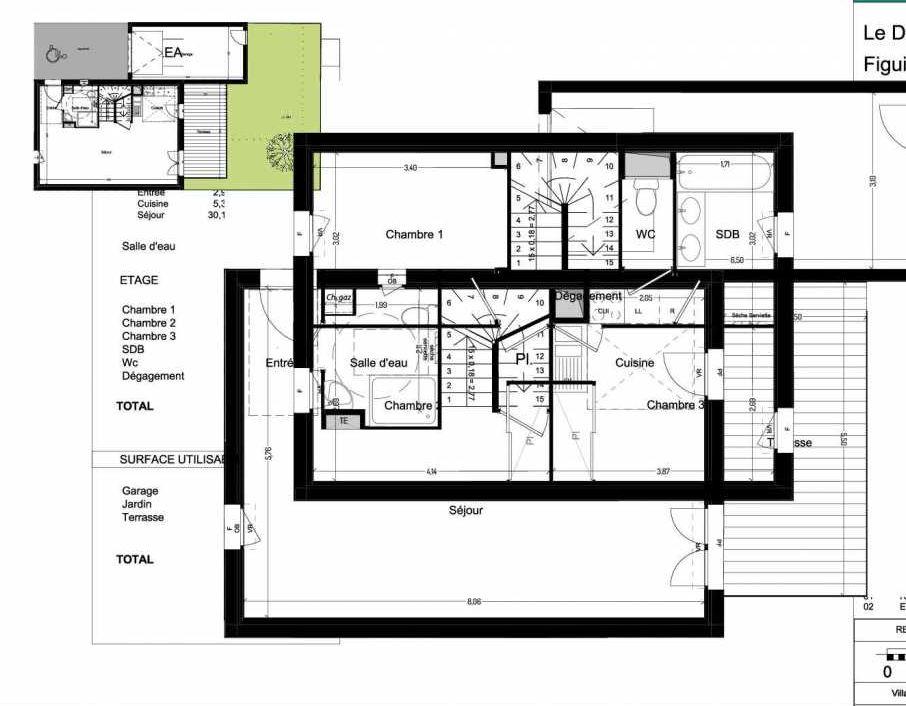 Plan V14, appartement neuf type T4 au Rez de chaussée, orienté Sud faisant 84m² du programme neuf Domaine des Figuiers à Castelmaurou.