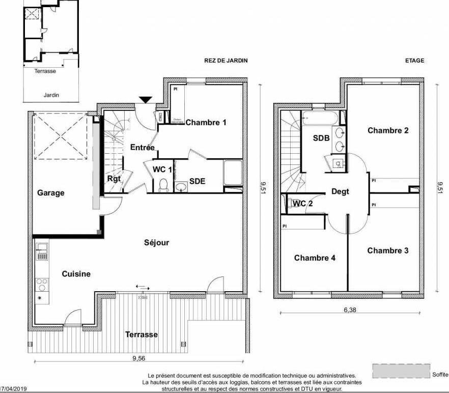 Plan V14, appartement neuf type T5 au Rez de chaussée, faisant 116m² du programme neuf PARC RIMBAUD à Tournefeuille.