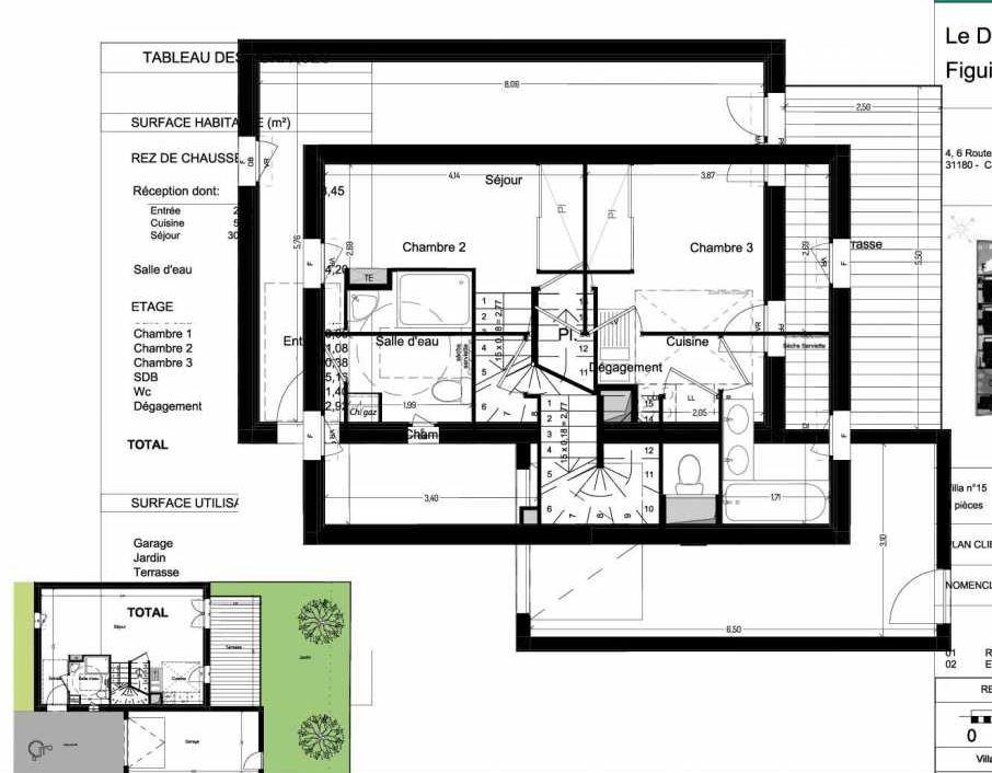 Plan V15, appartement neuf type T4 au Rez de chaussée, orienté Sud faisant 84m² du programme neuf Domaine des Figuiers à Castelmaurou.