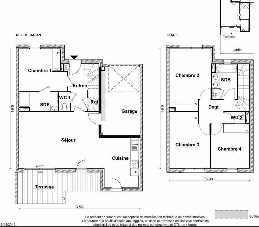 Plan V15, appartement neuf type T5 au Rez de chaussée, faisant 116m² du programme neuf PARC RIMBAUD à Tournefeuille.