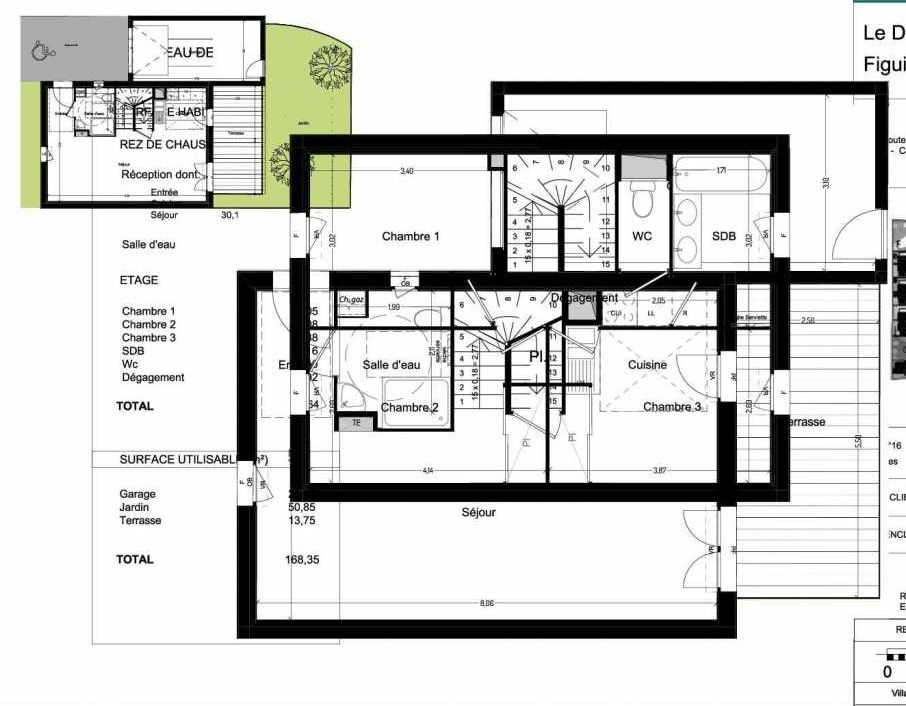 Plan V16, appartement neuf type T4 au Rez de chaussée, orienté Sud faisant 84m² du programme neuf Domaine des Figuiers à Castelmaurou.