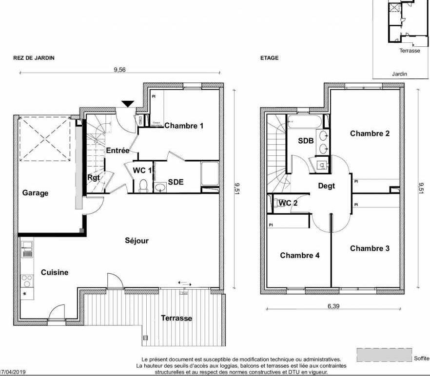 Plan V16, appartement neuf type T5 au Rez de chaussée, faisant 116m² du programme neuf PARC RIMBAUD à Tournefeuille.