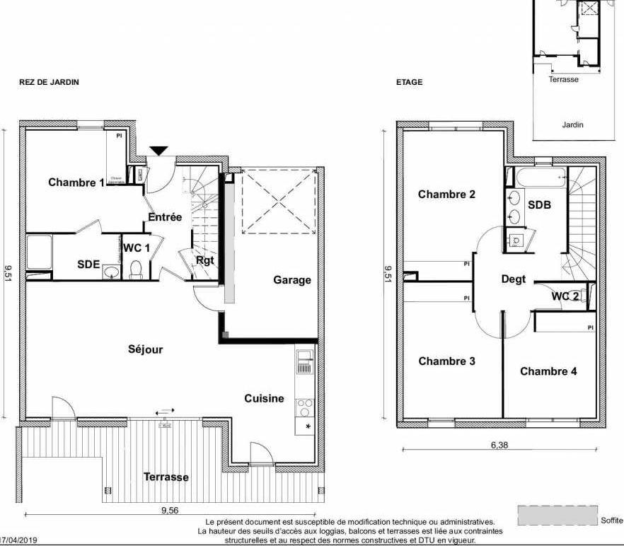 Plan V19, appartement neuf type T5 au Rez de jardin, faisant 116m² du programme neuf PARC RIMBAUD à Tournefeuille.
