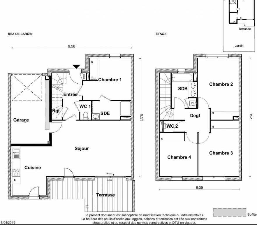Plan V20, appartement neuf type T5 au Rez de jardin, faisant 116m² du programme neuf PARC RIMBAUD à Tournefeuille.