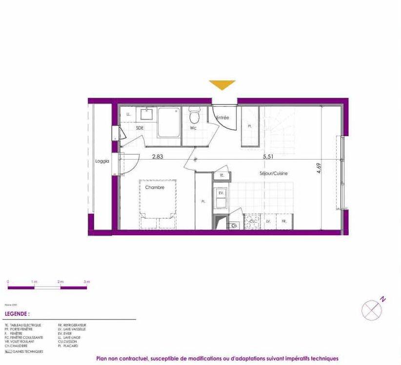 Plan V211, appartement neuf type T2 au Rez de chaussée, faisant 38m² du programme neuf Villas Ontines à Mérignac.
