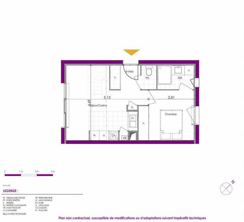 Plan V214, appartement neuf type T2 au Rez de chaussée, faisant 36m² du programme neuf Villas Ontines à Mérignac.